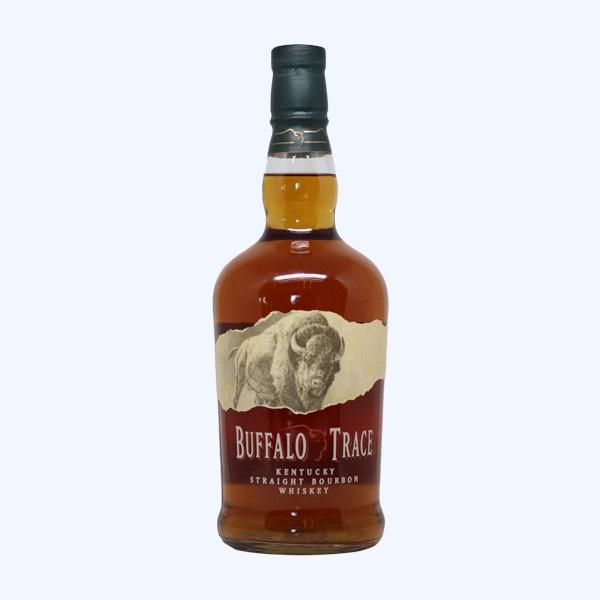 Buffalo Trace Bourbon bottle on blue background.